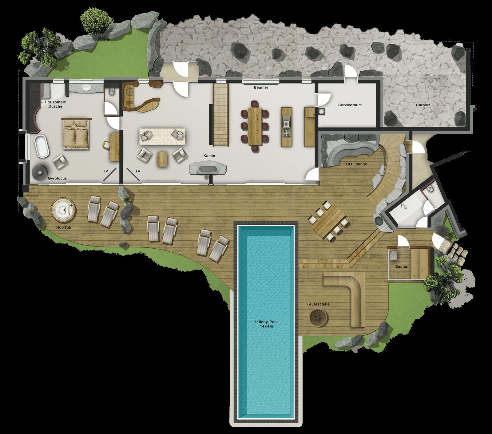 Villa ETANER Erdgeschoss